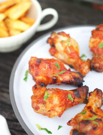bbq chicken wings with potato wedges