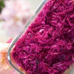 pickled red cabbage in a glass container