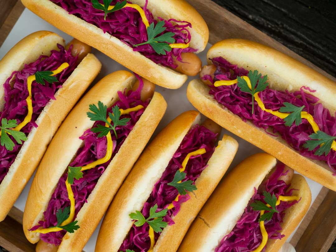 Hot Dogs with Pickled Red Cabbage