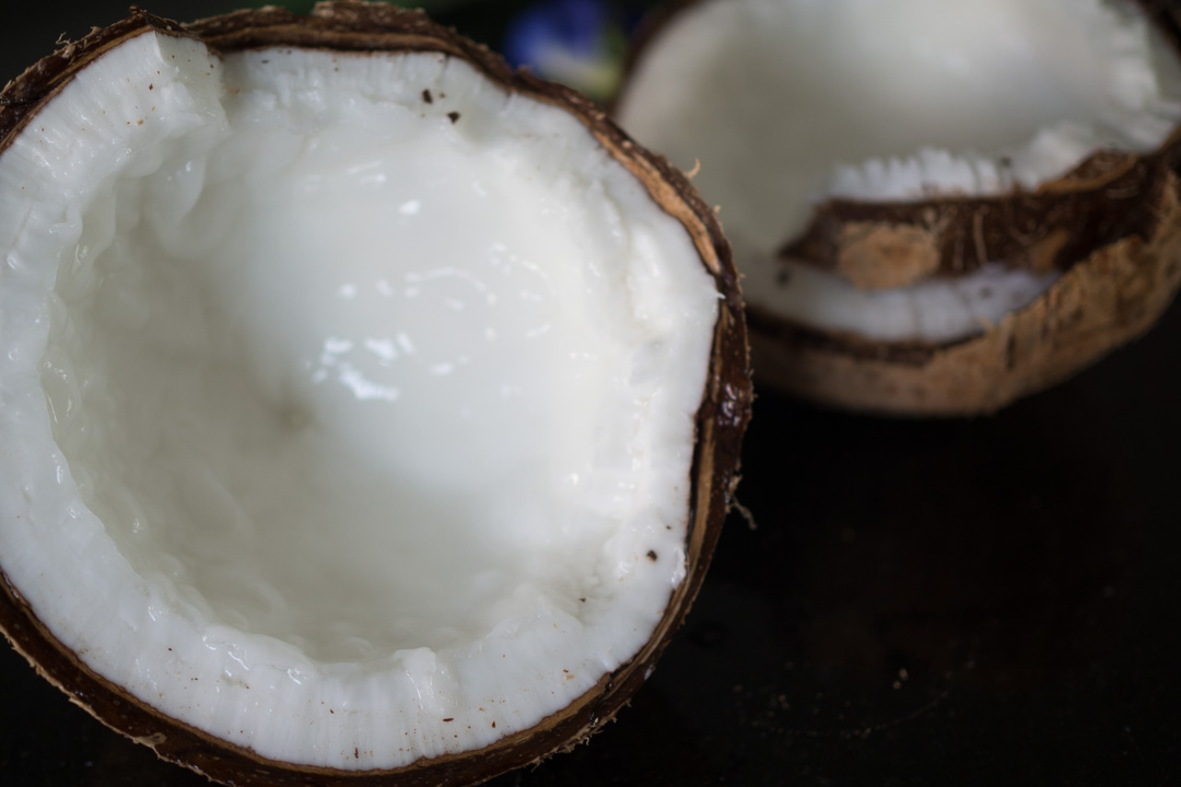 kopyor coconut cut in half