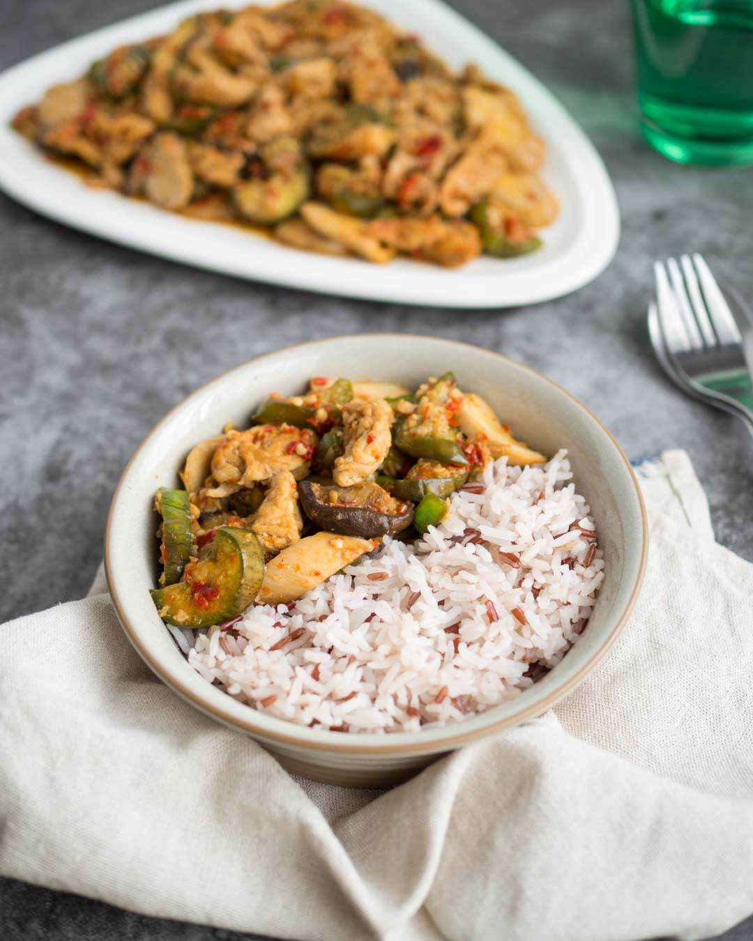 spicy thai eggpplant and mushroom stir fry with rice