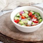 thai sweet and sour cucumber relish in a dipping bowl