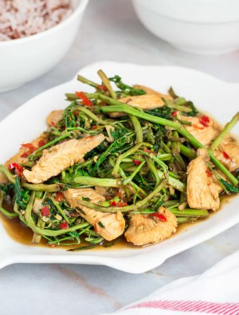 Thai stir fried water mimosa with chicken in a white plate