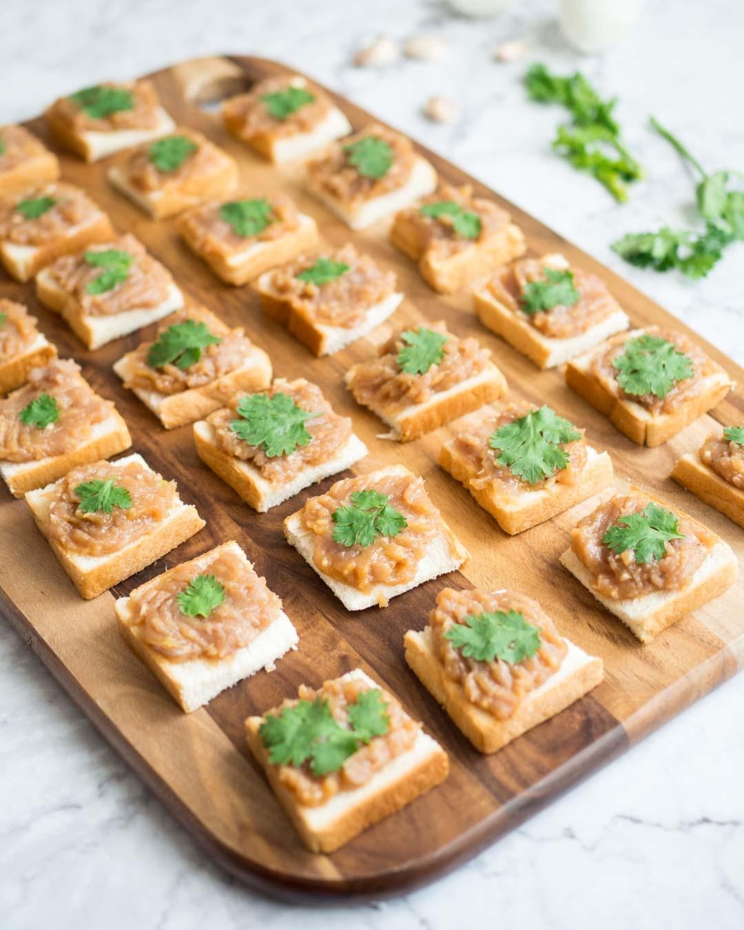 thai pork toast on a cutting board