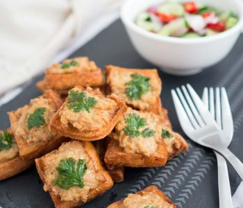 thai pork toast with cucumber relish