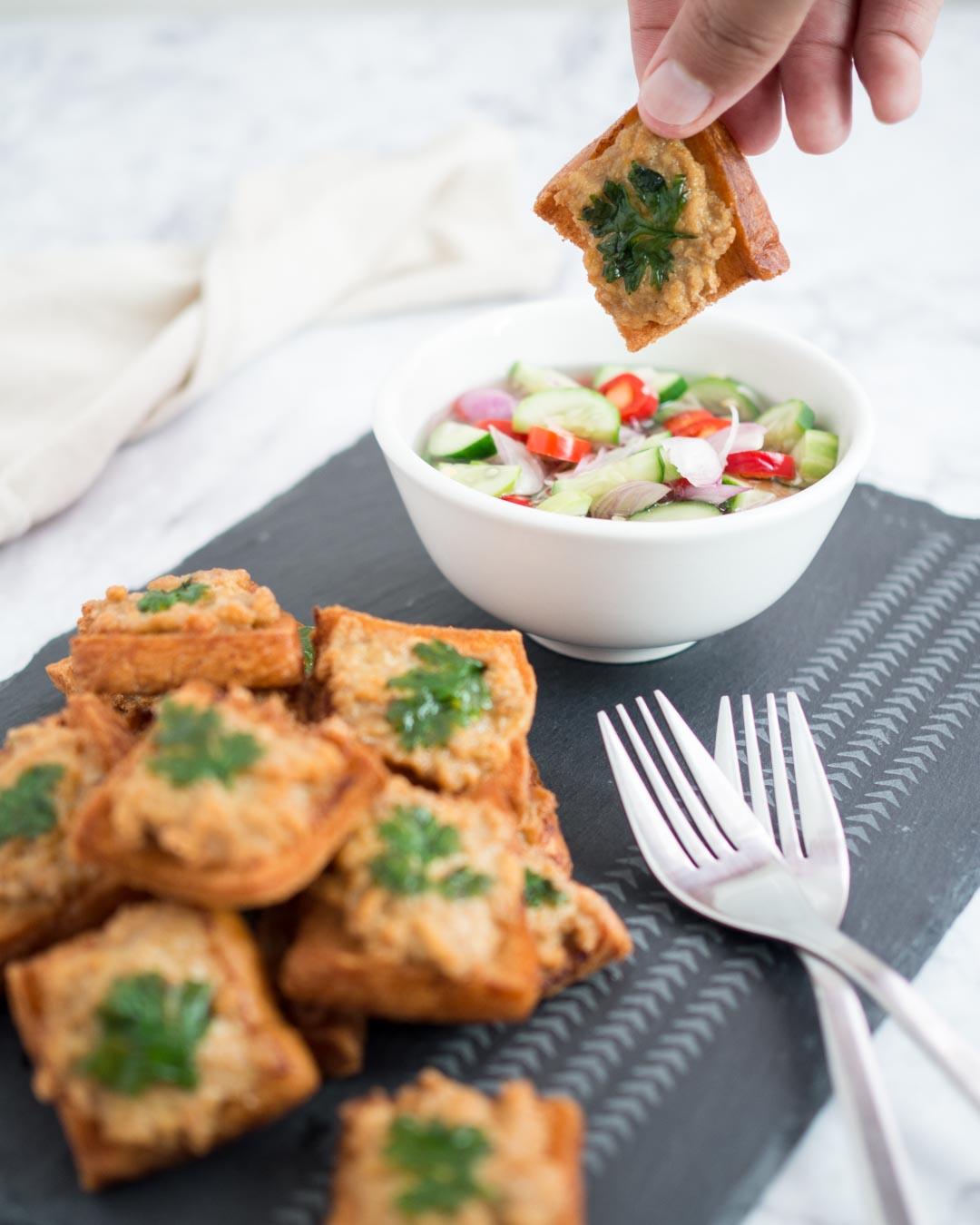 thai pork toast with cucumber relish