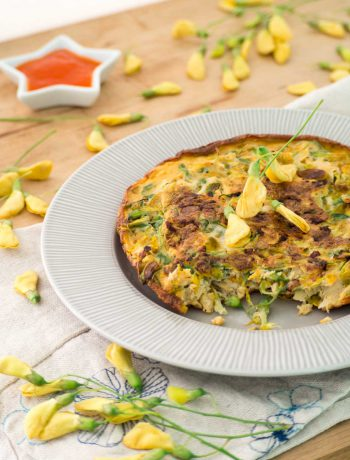 sesbania flower omelet on a plate