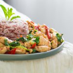 rice with thai holy basil chicken or pad kraprao gai