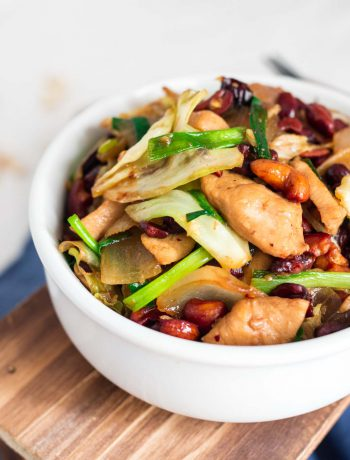Thai cashew chicken in a white bowl