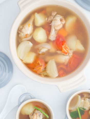 Thai potato soup with chicken drumettes