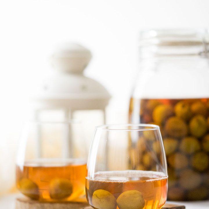 two glasses of umeshu or Japanese plum wine