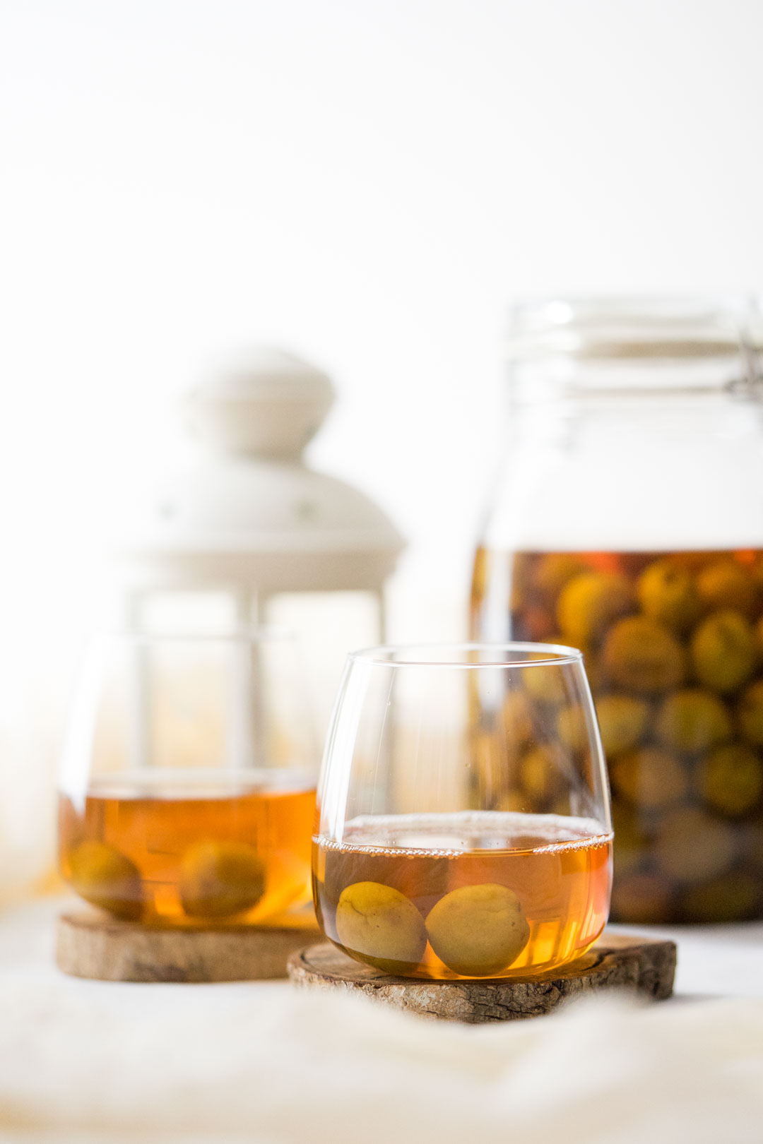 two glasses of umeshu or Japanese plum wine