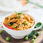 Thai chicken panang curry in a white bowl