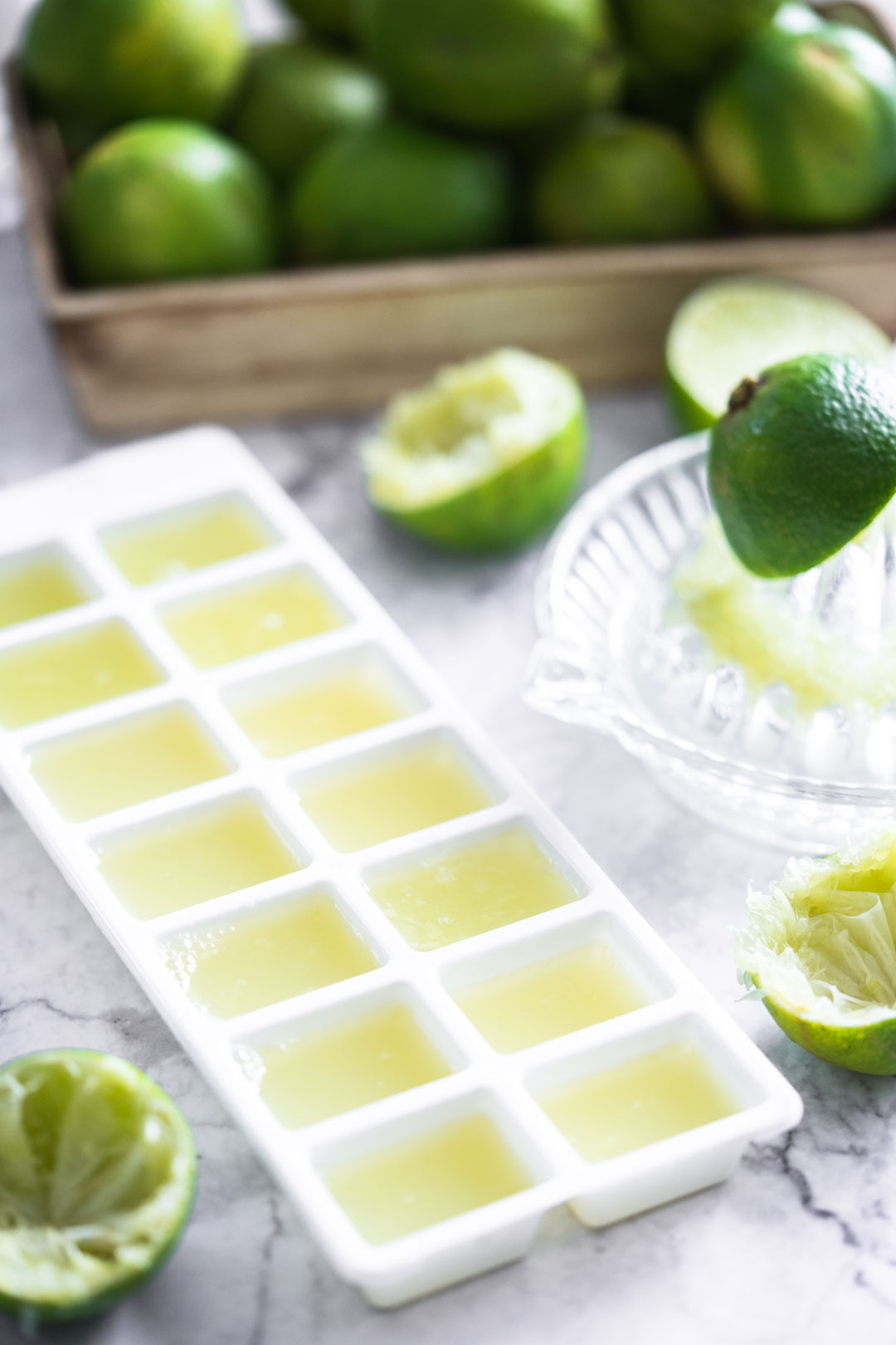 lime juice in an ice cube tray