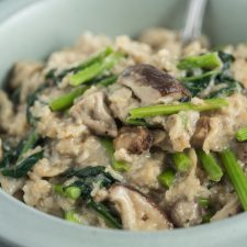 a bow of savory oatmeal with vegetables