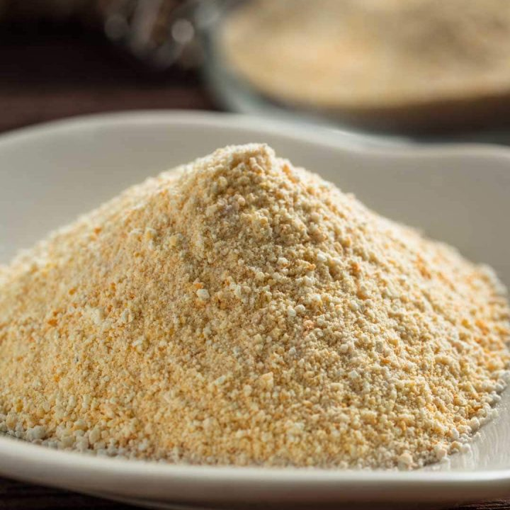 toasted rice powder on a plate