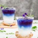 two glasses of butterfly pea milk