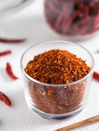 a cup of roasted Thai chili flakes
