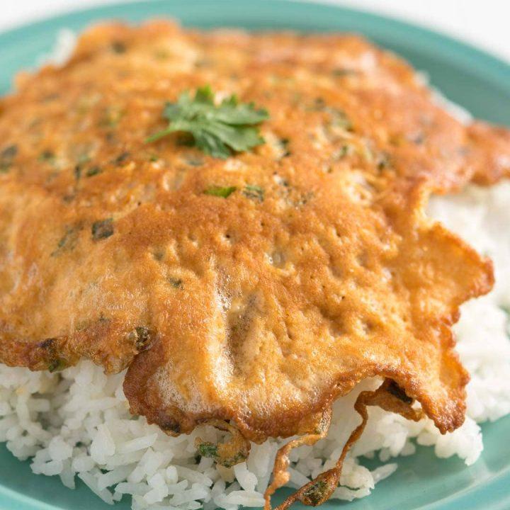 Thai omelette or kai jeow on top of rice