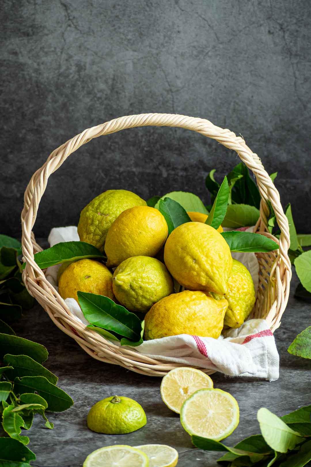 freshly picked lemons in a basket