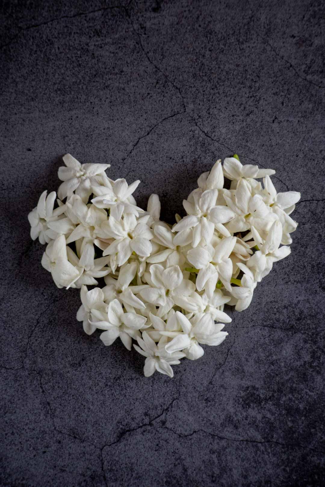 jasmine flowers arranged in a heart shape