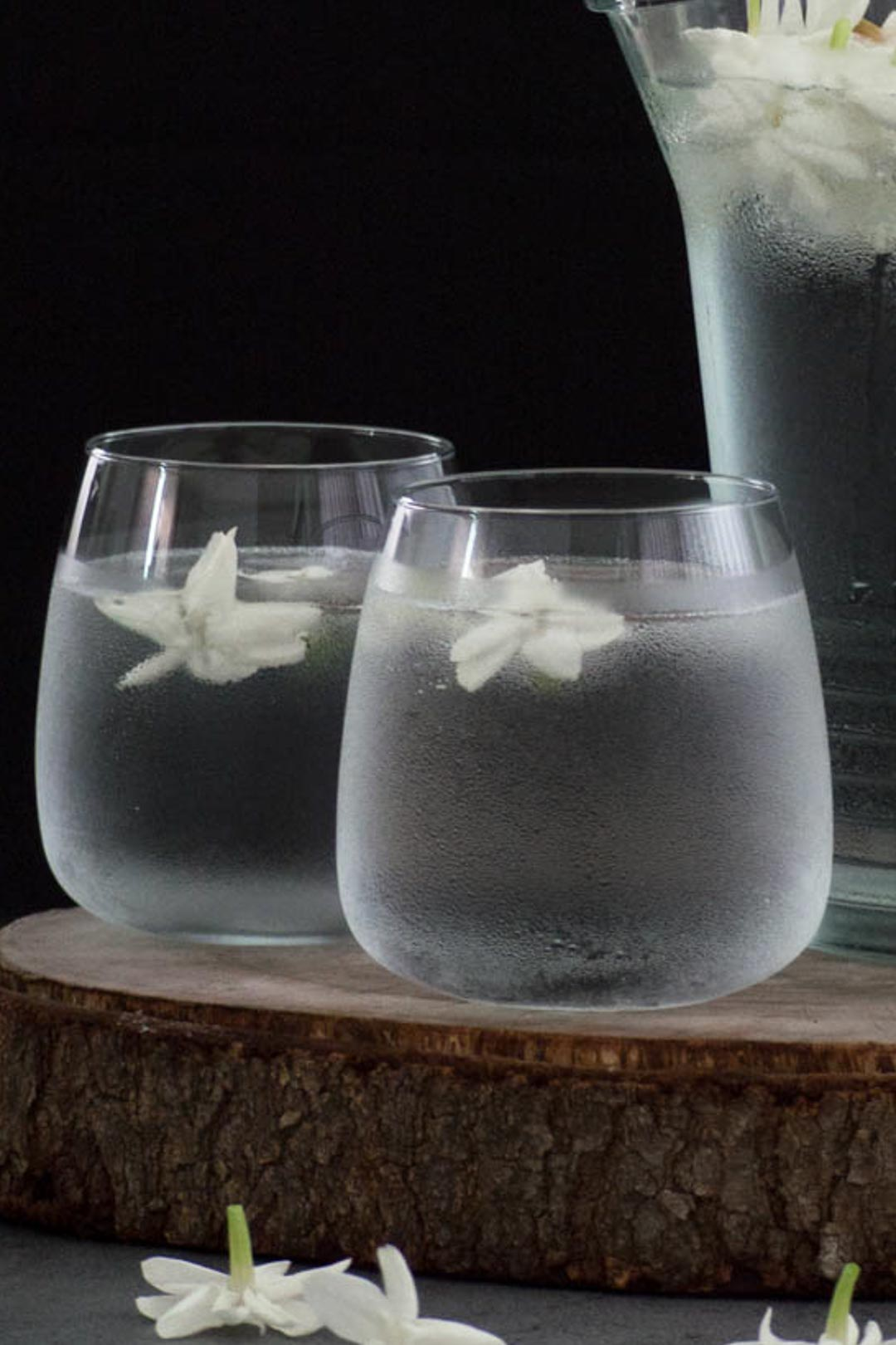 two glasses of jasmine infused water