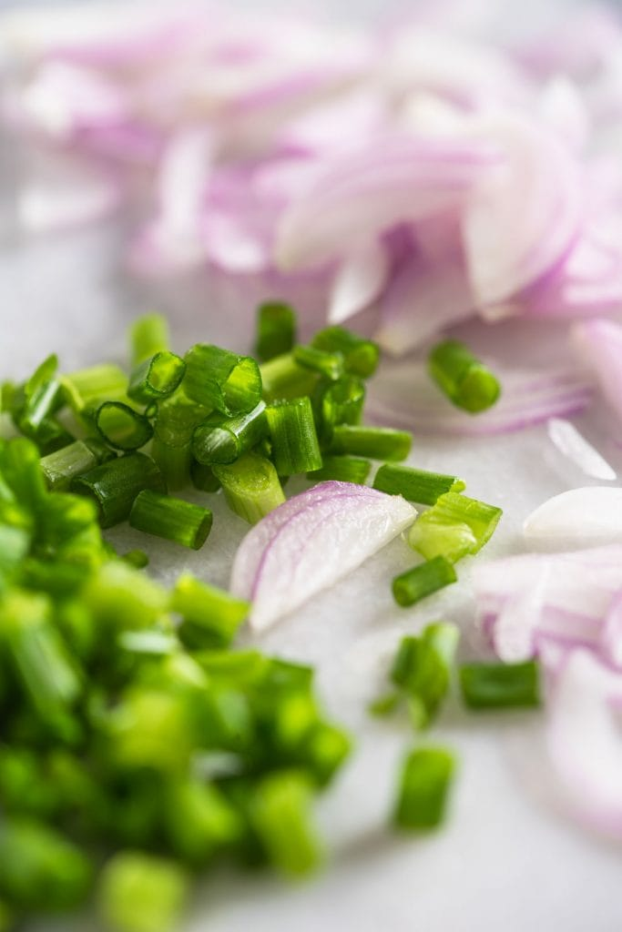 sliced shallots and chopped green onion