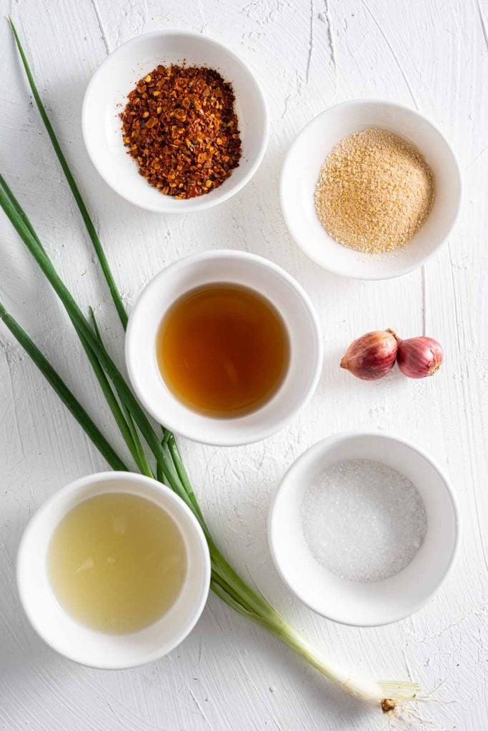 ingredients for Thai chili dipping sauce or nam jim jaew