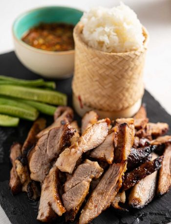 Thai grilled pork neck with Thai sticky rice, nam jim jaew and vegetables