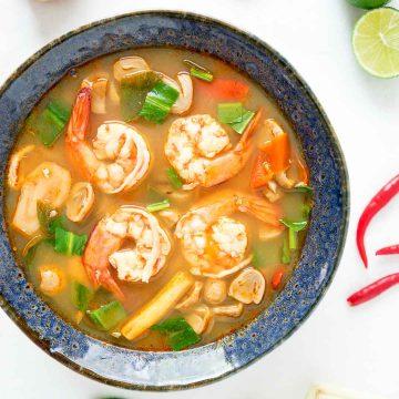 a bowl of tom yum goong | tom yum gung | ต้มยำกุ้ง