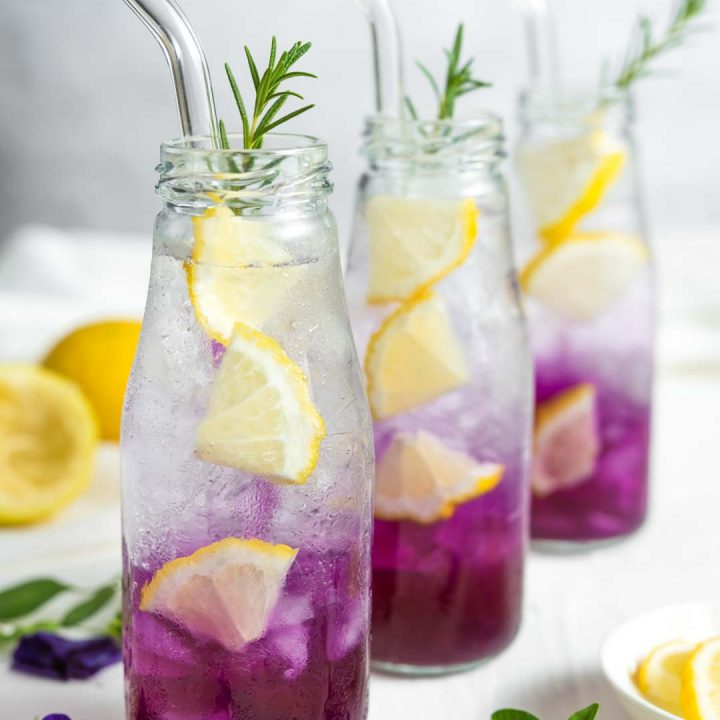 3 bottles of butterfly pea lemon soda