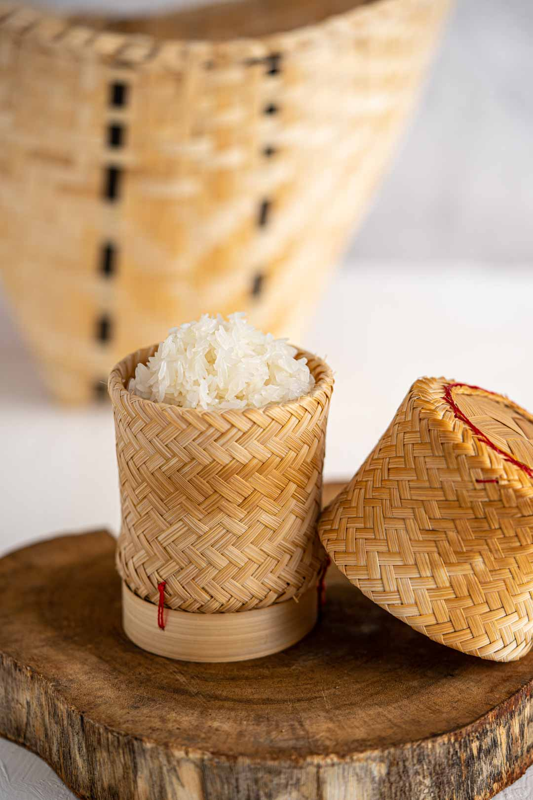 cooked Thai sticky rice in a bamboo basket