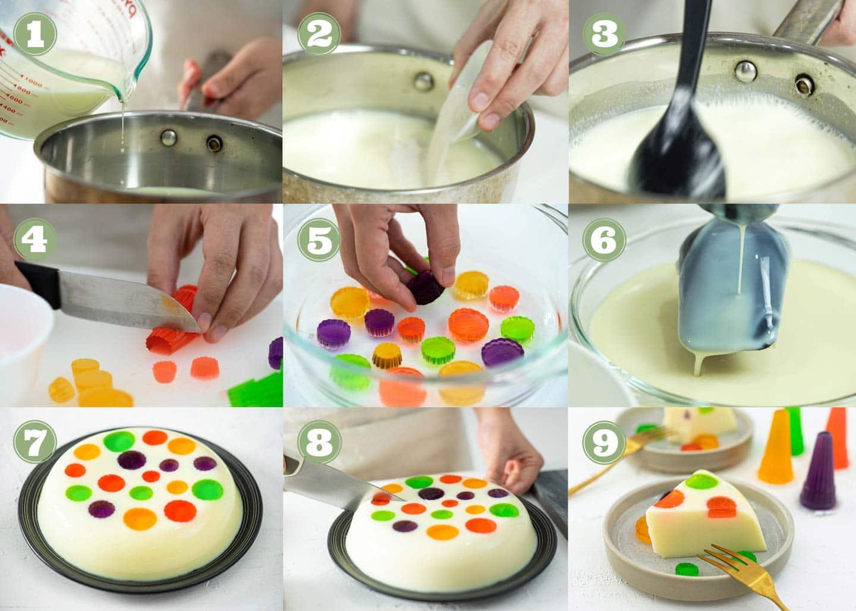 process of making yogurt polka dot jelly cake