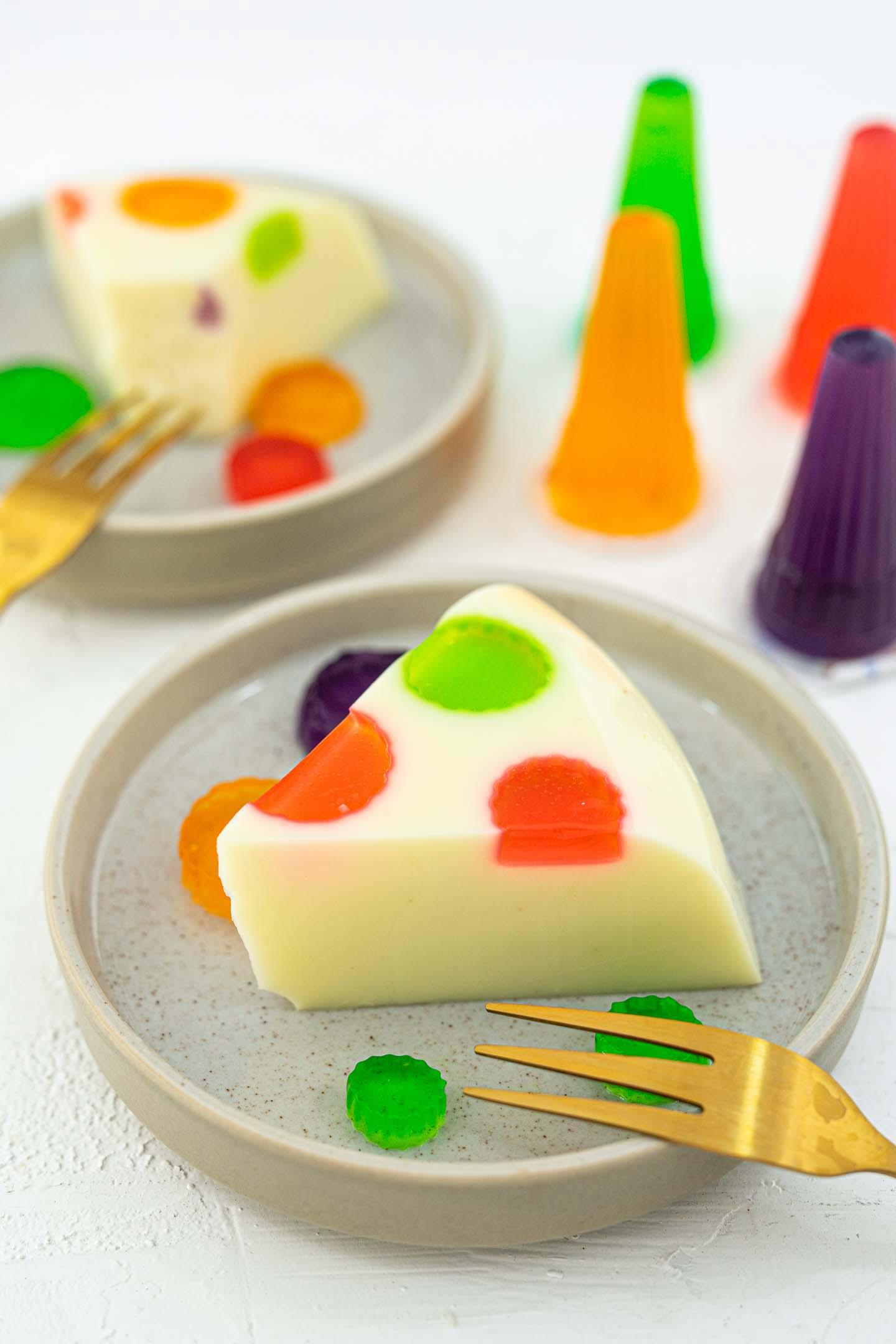 a slice of polka dot jelly zoomed in