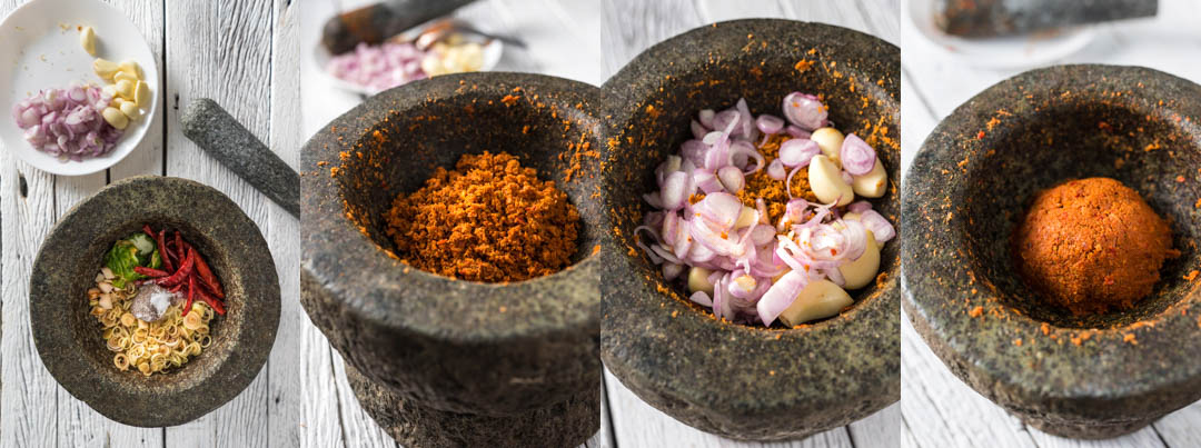 steps to making Thai red curry paste