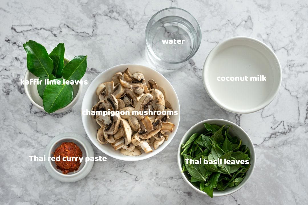 ingredients for Thai mushroom red curry