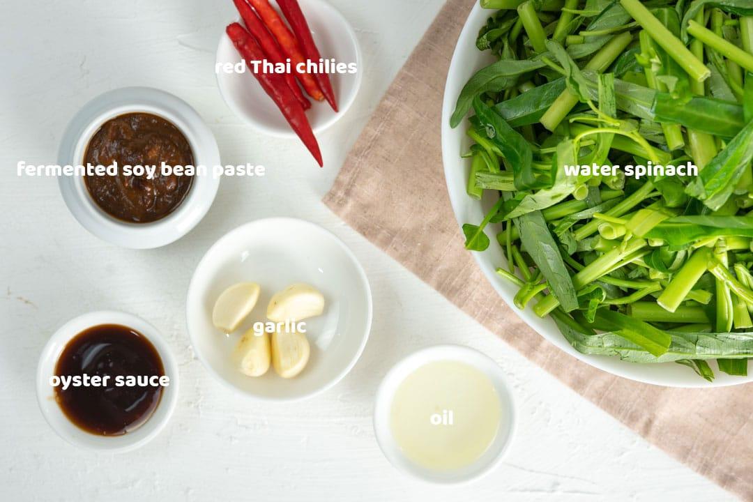 water spinach stir-fry ingredients