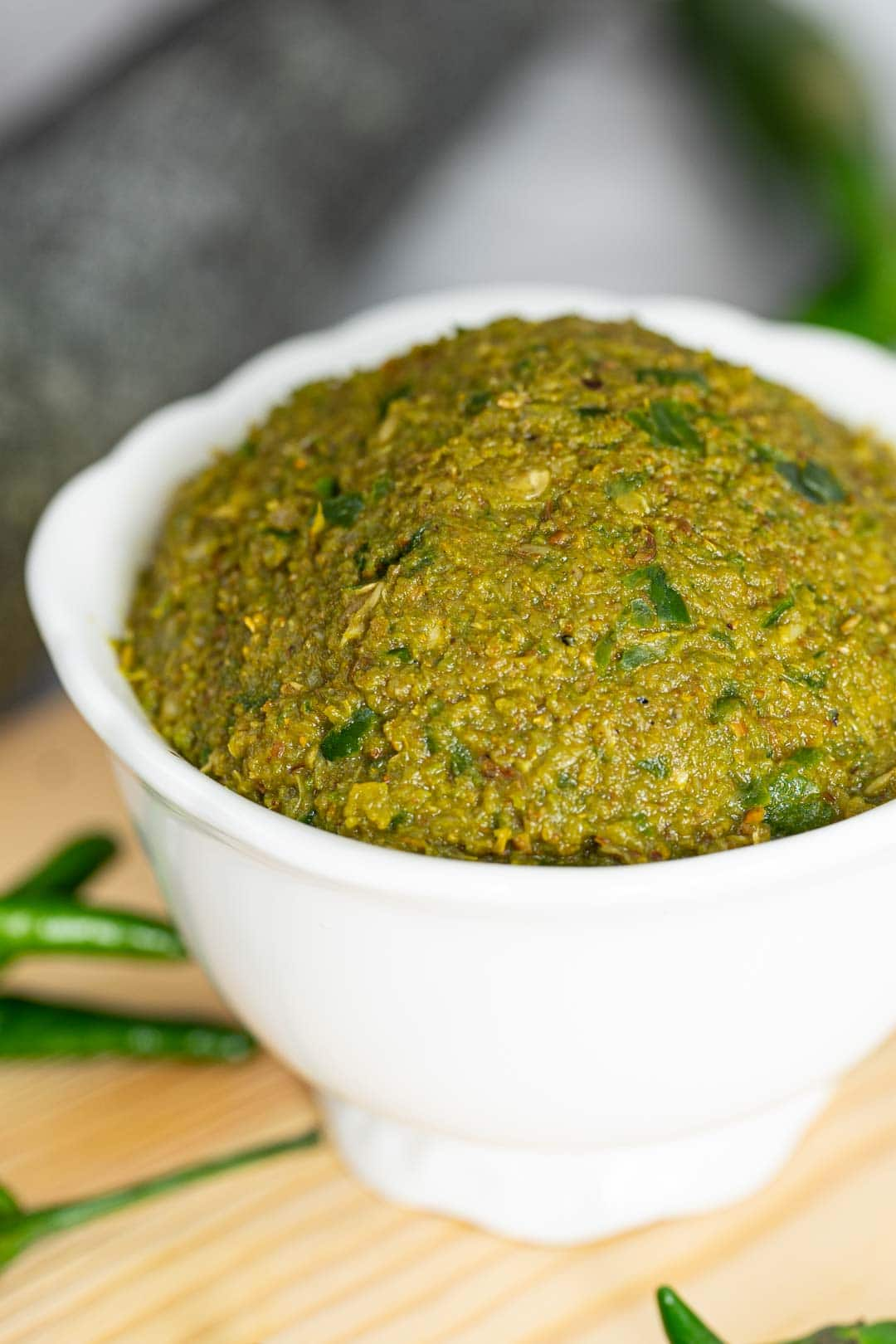 close up of Thai green curry paste