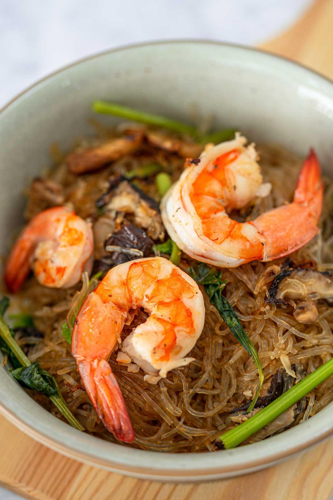 a bowl of Thai glass noodles and shrimp