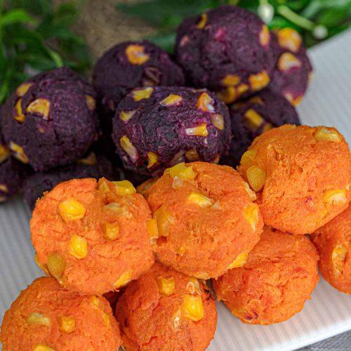 Thai sweet potato balls or khanom mantip