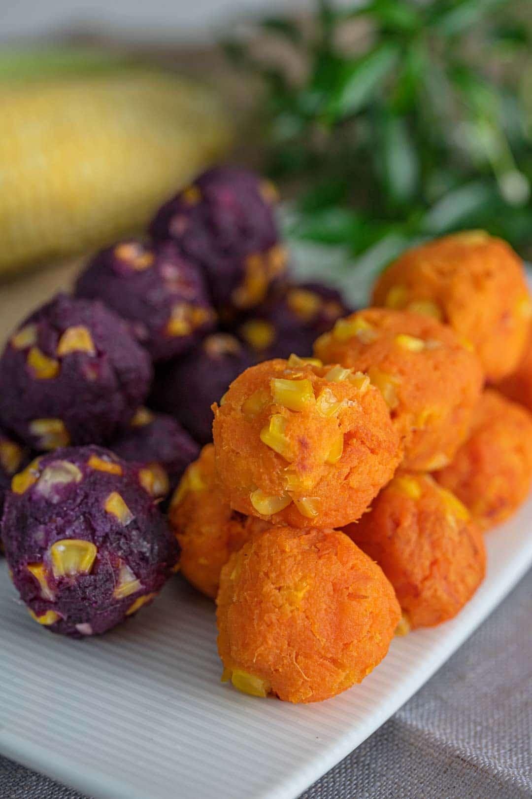 orange and purple sweet potato snack