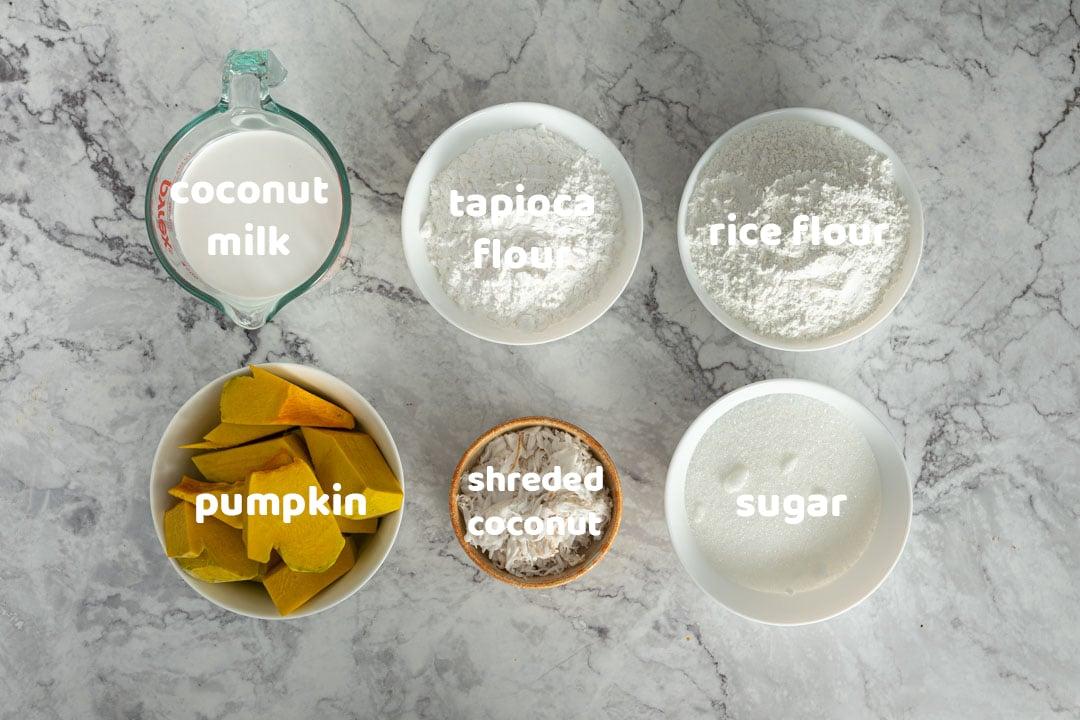 Thai pumpkin cake ingredients