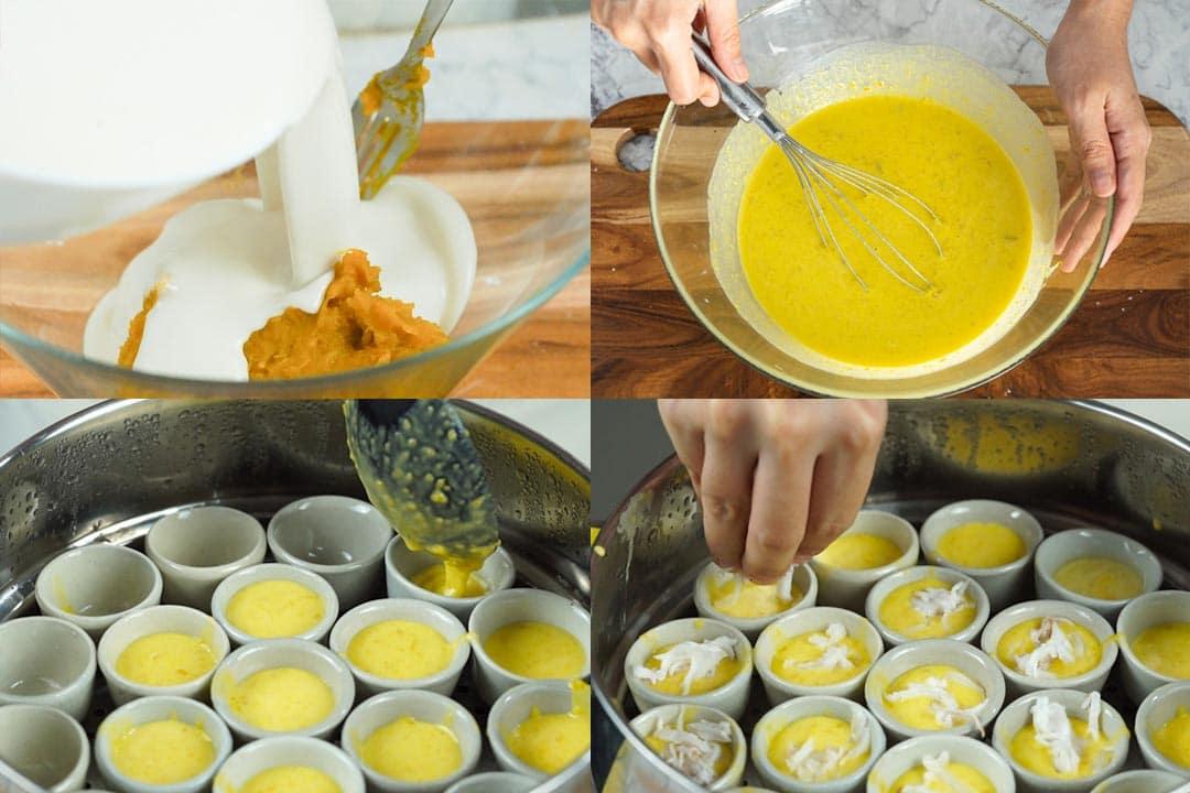 process of making a Thai pumpkin dessert