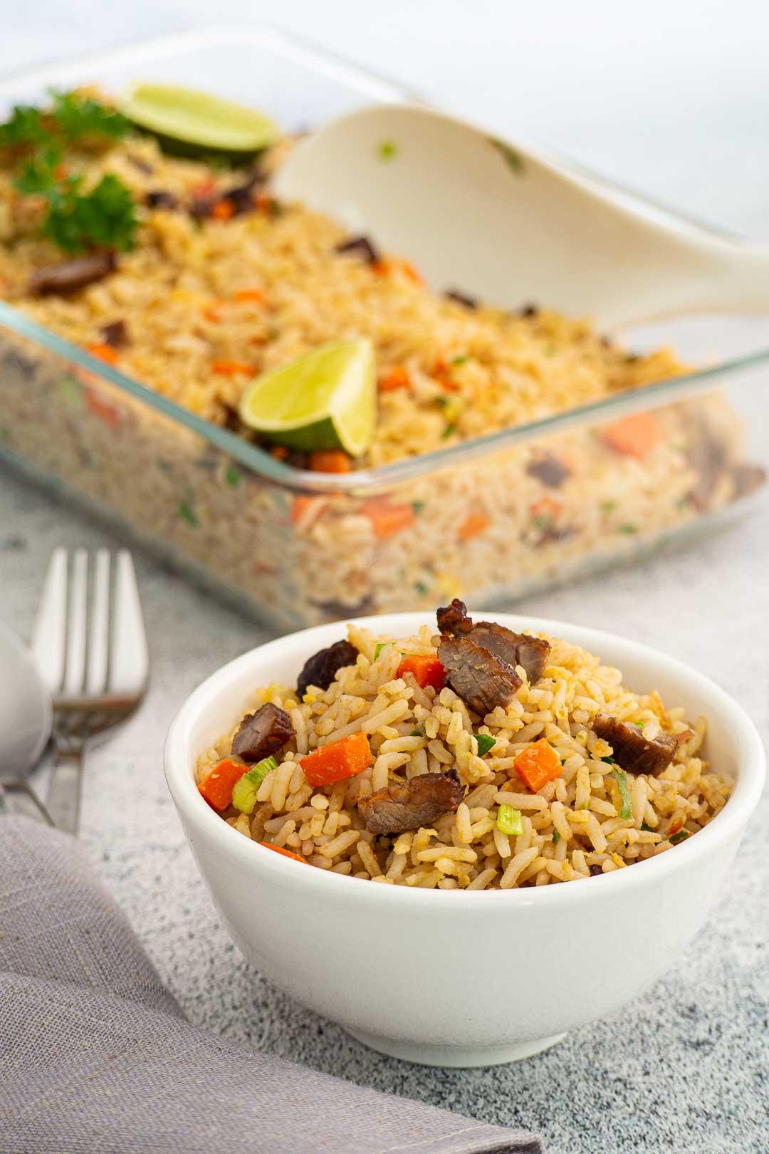 thai beef fried rice in a white bowl - khao pad neua kem