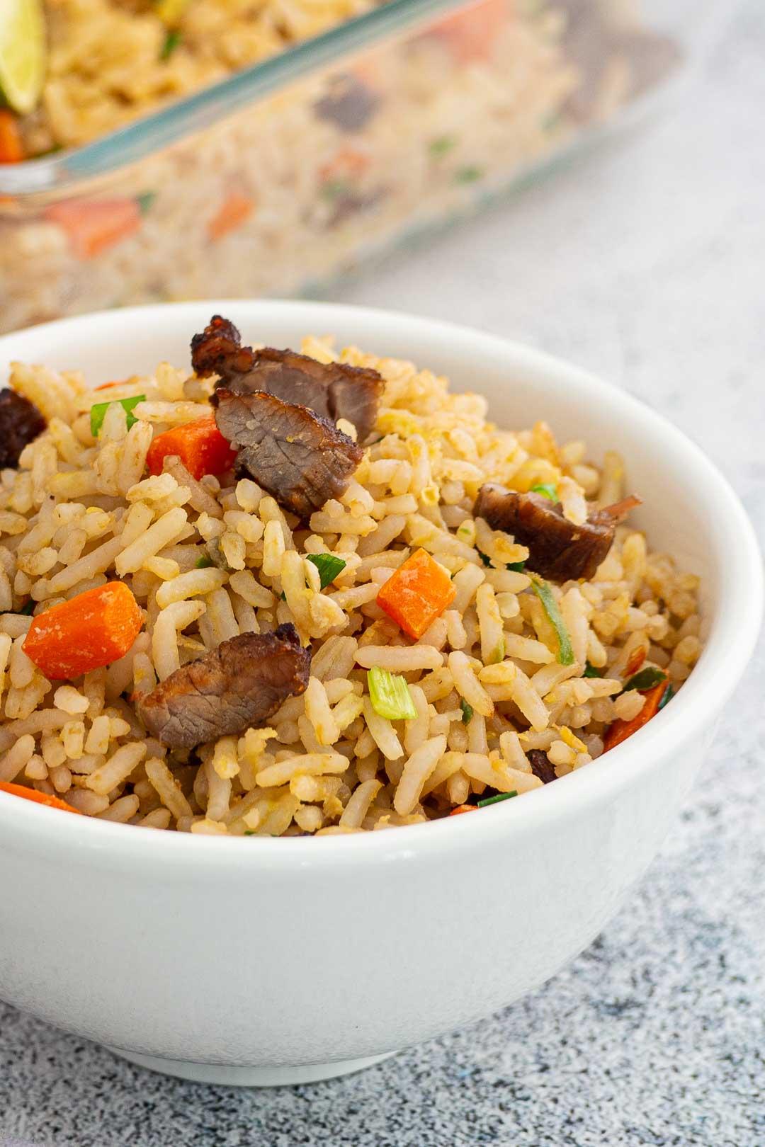 Asian beef fried rice in a white bowl - khao pad neua kem