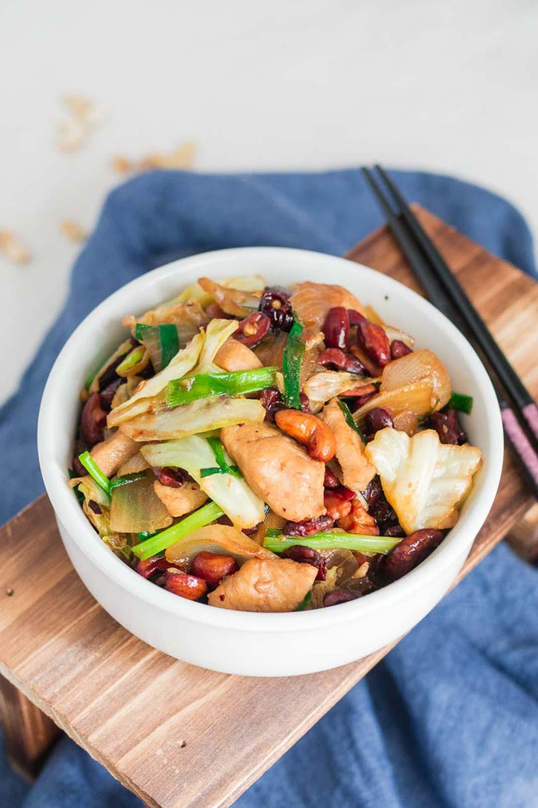 cashew chicken in a white bowl
