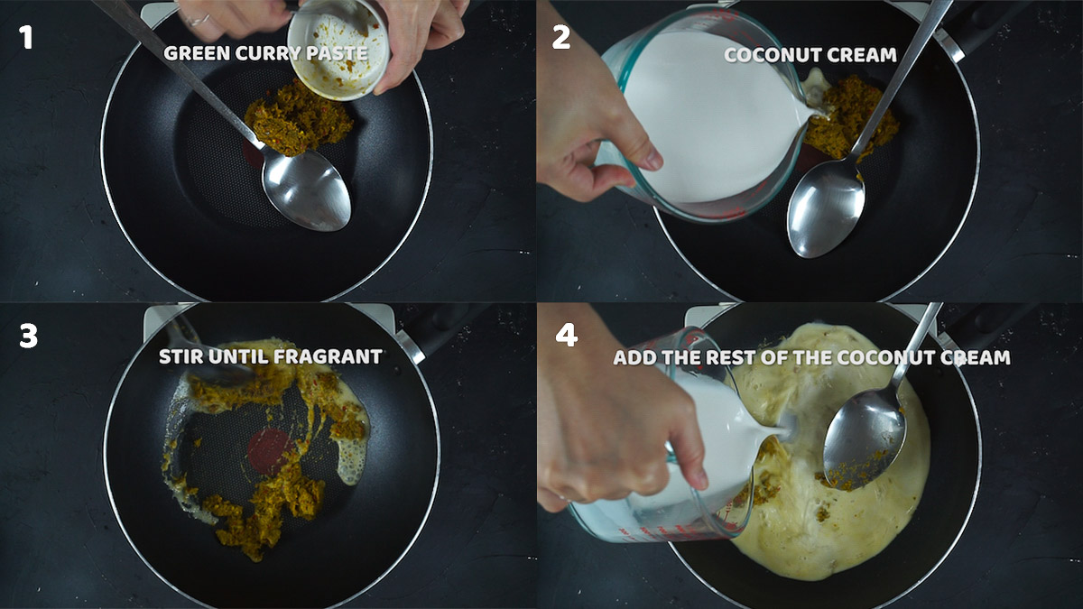 Step by step pictures of how to make Thai green curry
