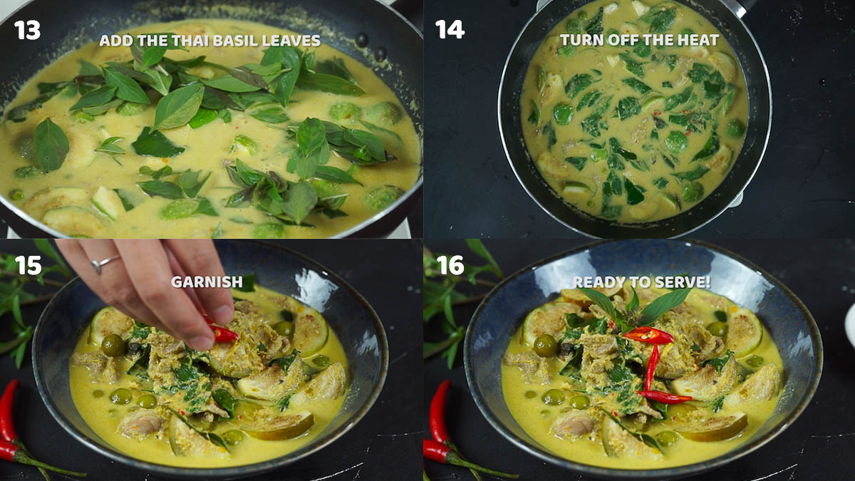 Step by step pictures of how to make Thai green beef curry