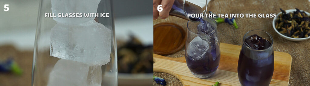 process shots of how to make butterfly pea tea