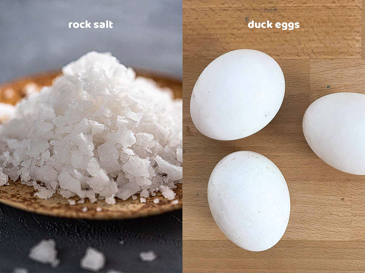 rock salt and duck eggs for making salted eggs
